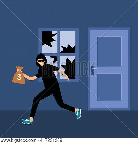 Robber Or Thief Broke The Window Glass And Holding Money Bag In Flat Design. Home Burglar.