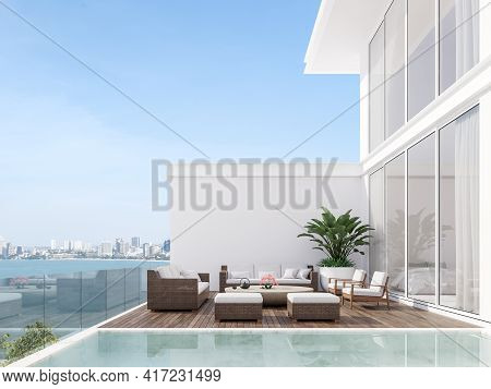 Minimal Stye White House With Wooden Swimming Pool Terrace 3d Render,there Has White Marble Pool Til