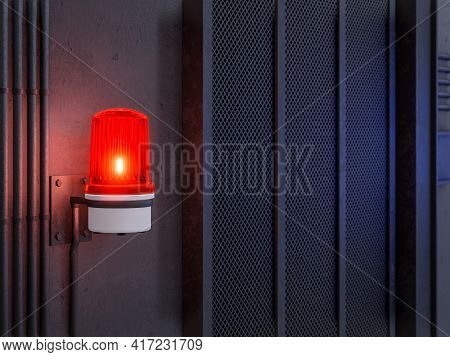Red Siren Light Warning Activation On Industrial Loft Style Wall Background 3d Render