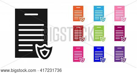 Black Firearms License Certificate Icon Isolated On White Background. Weapon Permit. Set Icons Color