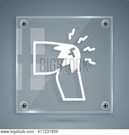 White Joint Pain, Knee Pain Icon Isolated On Grey Background. Orthopedic Medical. Disease Of The Joi
