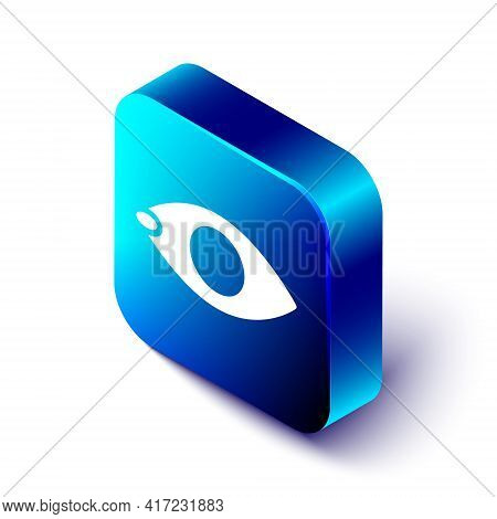 Isometric Blindness Icon Isolated On White Background. Blind Sign. Blue Square Button. Vector