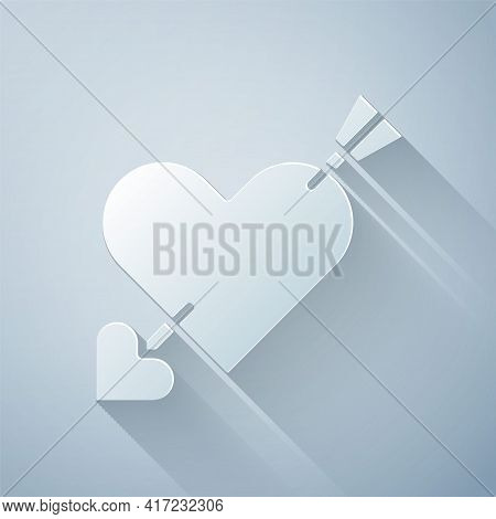 Paper Cut Amour Symbol With Heart And Arrow Icon Isolated On Grey Background. Love Sign. Valentines