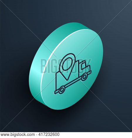 Isometric Line Delivery Tracking Icon Isolated On Black Background. Parcel Tracking. Turquoise Circl