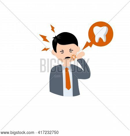 Man With Caries. Bubble With Tooth Decay Icon. Pain In Cheek. The Dentist's Work. Health Care. Carto