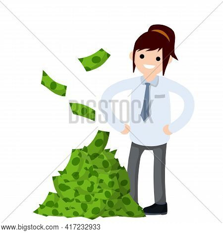 Office Worker In White Shirt. Big Hand With Green Money. Happy Man. Cartoon Flat Illustration. Payme
