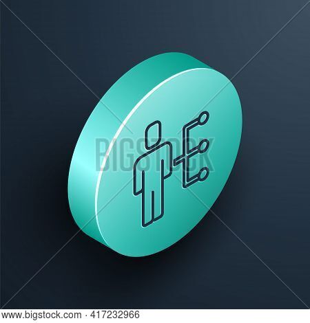 Isometric Line User Of Man In Business Suit Icon Isolated On Black Background. Business Avatar Symbo