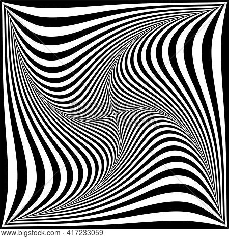 Whirl Vortex Twisting Movement Illusion In Abstract Op Art Design.