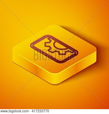 Isometric Line Software, Web Development, Programming Concept Icon Isolated On Orange Background. Pr