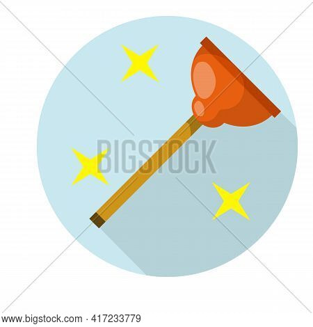Plunger In Blue Circle. Drain Cleaner. Plumber's Tool. Yellow Stars Shining. Red Object. Cartoon Fla