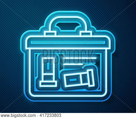 Glowing Neon Line Military Ammunition Box With Some Ammo Bullets Icon Isolated On Blue Background. V