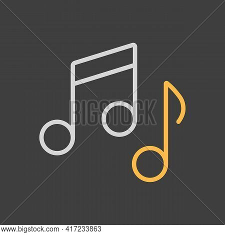 Music Notes, Song, Melody Or Tune Vector Icon On Dark Background. Graph Symbol For Music And Sound W
