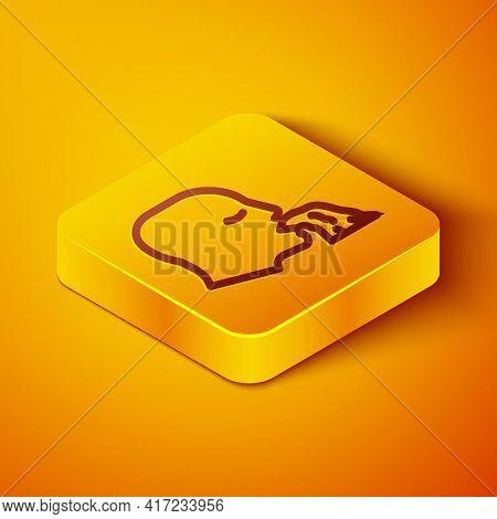 Isometric Line Vomiting Man Icon Isolated On Orange Background. Symptom Of Disease, Problem With Hea