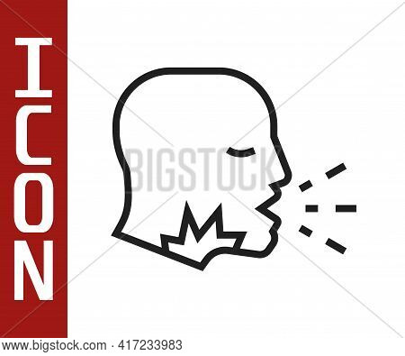 Black Line Man Coughing Icon Isolated On White Background. Viral Infection, Influenza, Flu, Cold Sym