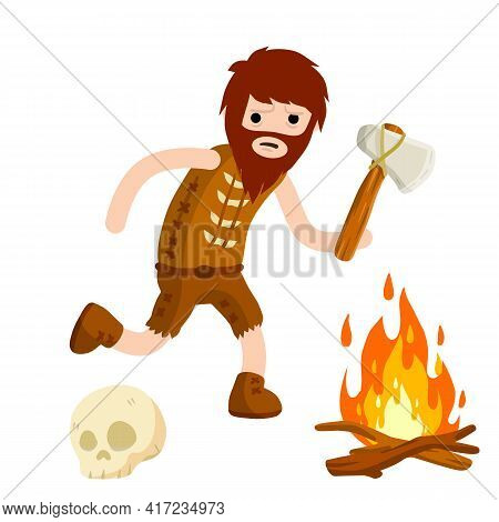 Primitive Caveman. Prehistoric Hunter. Stone Age. Man With An Axe Or A Hammer. Tribal Items. Concept