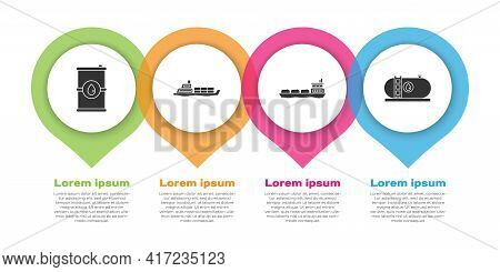 Set Barrel Oil, Oil Tanker Ship, Oil Tanker Ship And Oil Industrial Factory Building. Business Infog