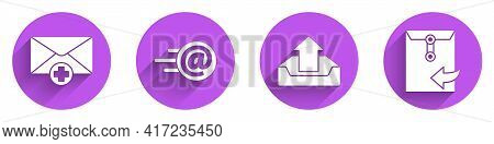 Set Received Message Concept, Mail And E-mail, Upload Inbox And Envelope Icon With Long Shadow. Vect