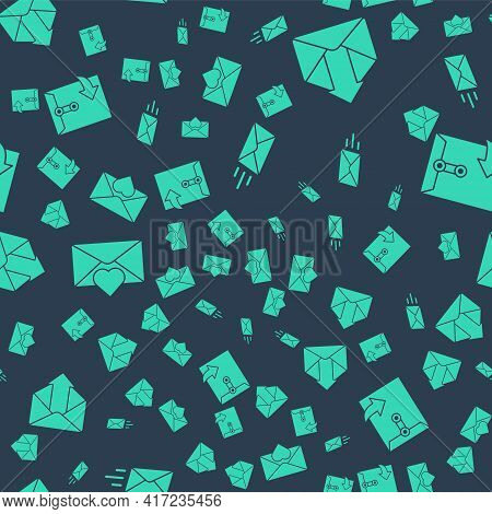 Set Express Envelope, Outgoing Mail, Envelope With Valentine Heart And Envelope On Seamless Pattern.