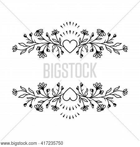 Floral Border Frame, Wildflowers And Hearts, Floral Wreath, Vector Flower Split Monogram
