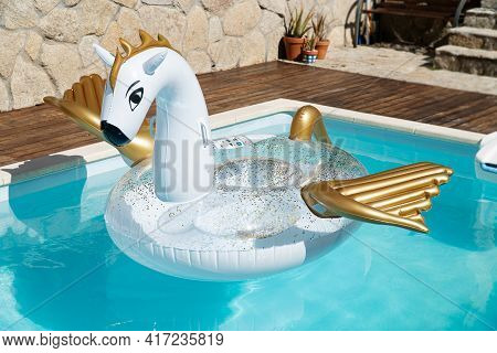Scene Of A Cute Inflatable Dragon Floating On House Swimming Pool On Sunny Day. No People