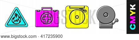 Set Fire Flame In Triangle, First Aid Kit, Ringing Alarm Bell And Ringing Alarm Bell Icon. Vector