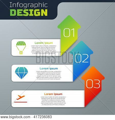 Set Box Flying On Parachute, Parachute And Plane Takeoff. Business Infographic Template. Vector