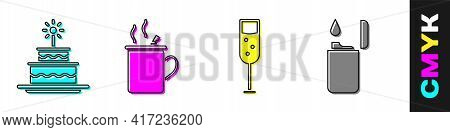 Set Cake With Burning Candles, Mulled Wine, Glass Of Champagne And Lighter Icon. Vector