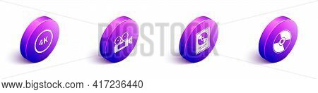 Set Isometric 4k Ultra Hd, Cinema Camera, Cd Disk Award In Frame And Cd Or Dvd Disk Icon. Vector
