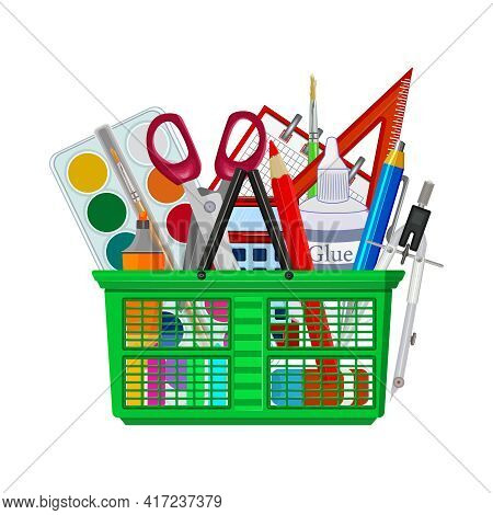 Shopping Basket With Stationery And Office Supplies Isolated On White Background. Cart Full Of Educa