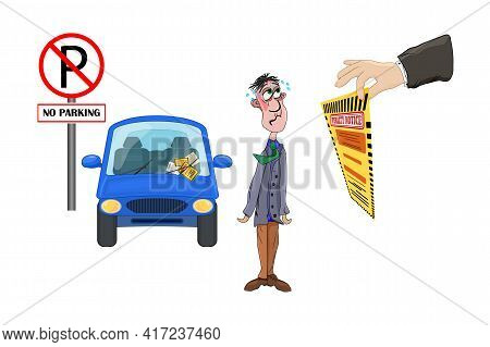 Driving Rules Violation. Pay Fine. Penalty Notice To Driver Concept. Warden Hand Holding Violation T