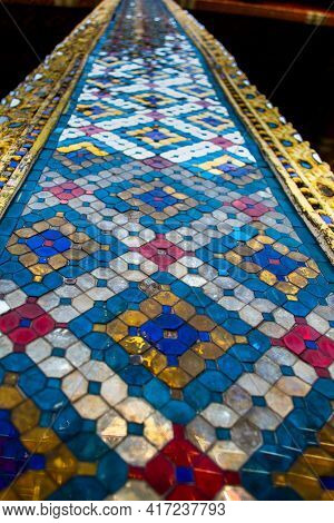 Thailand, Bangkok, January 19, 2019 - Decorative Patterns In Wat Phra Kaew, Also Known As The Temple
