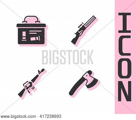 Set Wooden Axe, Military Ammunition Box, M16a1 Rifle And Hunting Gun Icon. Vector