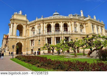 Odessa Opera And Ballet Theater, Ukraine. Main Landmark In Odessa. Cultural Center. Baroque Architec