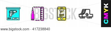 Set Military Ammunition Box, Bullet, Shop Weapon In Mobile App And Collimator Sight Icon. Vector