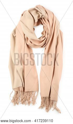 Soft Cashmere Scarf Isolated On White, Top View