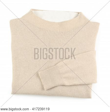 Folded Beige Cashmere Sweater Isolated On White, Top View