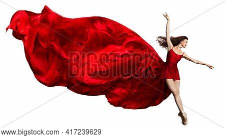 Ballerina Jump In Red Flying Silk Dress, Ballet Dancer In Pointe Shoes, Fluttering Waving Cloth, Iso