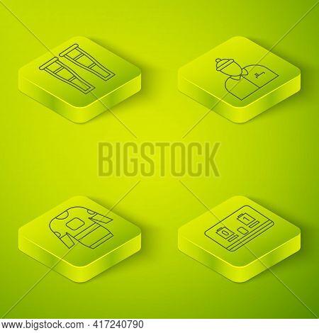 Set Isometric Hockey Coach, Hockey Jersey, Hockey Mechanical Scoreboard And Crutch Or Crutches Icon.
