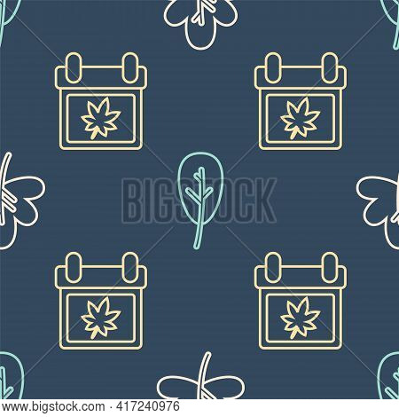 Set Line Leaf Or Leaves, Calendar With Autumn Leaves And Leaf Or Leaves On Seamless Pattern. Vector