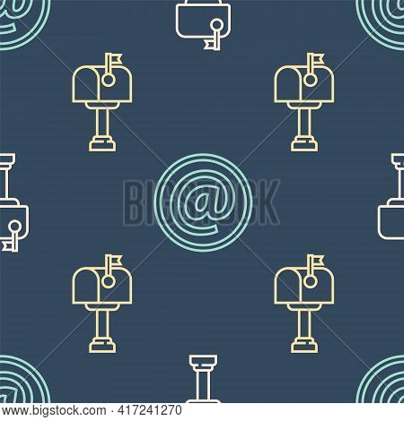 Set Line Mail Box, Mail Box And Mail And E-mail On Seamless Pattern. Vector