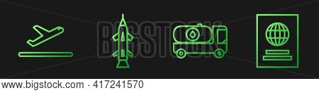 Set Line Fuel Tanker Truck, Plane Takeoff, Rocket And Passport. Gradient Color Icons. Vector