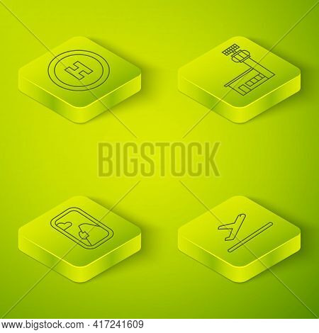 Set Isometric Airport Control Tower, Airplane Window, Plane Takeoff And Helicopter Landing Pad Icon.