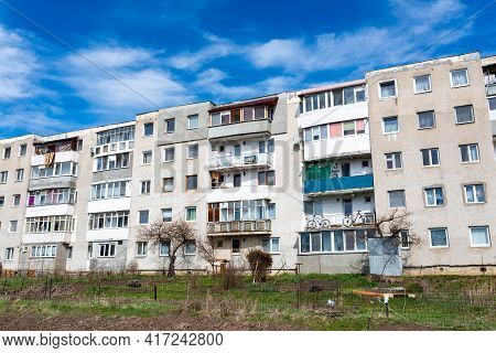 Miercurea Ciuc, Romania- 17 April 2021: Old Apartment Building Front View, Build In  1978 By The For