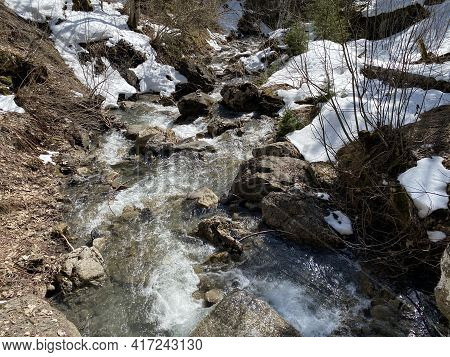 Le Torrent Stream Below The Torrentfall Waterfall (cascade Du Torrent) And Above The Settlement, Les