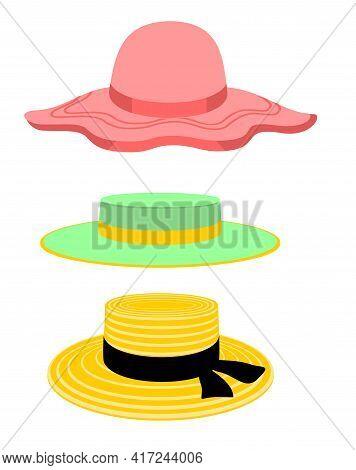 Summer Women S Hats. Girl Beach Sun Hat Flat Design Icon Isolated On White. Women Hats Isolated On W