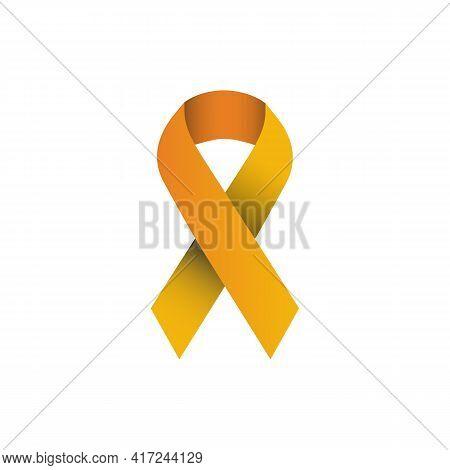 Illustration Vector Graphic Of This Orange Ribbon Symbolizes Concern For Kidney Cancer, Leukemia, Ma