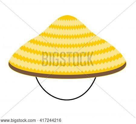Chinese Conical Straw Hat Vector Illustration Isolated On A White Background. Asian Conical Straw Ha