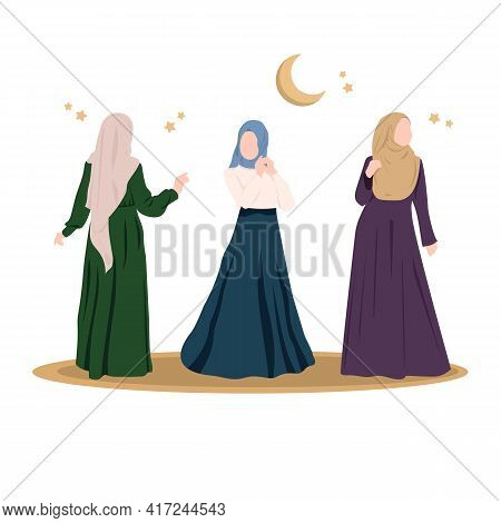 Arab Girls In Hijab And Beautiful Dresses. Several Muslim Girls Are Models. Islamic Models From The
