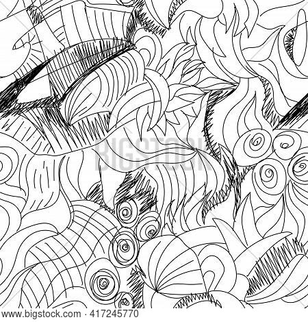 Seamless Abstract Artwork With Hand Drawn Unusual Line Pattern