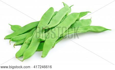 Green Beans Isolated On A White Background. Top View Of Fresh Pea Pods. Bunch Of Organic Beans